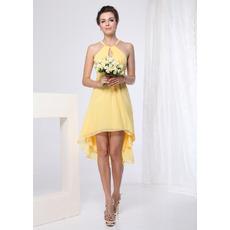 Chic Sheath Straps Short/ Mini Chiffon Bridesmaid Dresses for Summer Beach Wedding