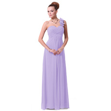 Elegant Sheath/ Column One Shoulder Floor Length Chiffon Bridesmaid Dresses for Spring