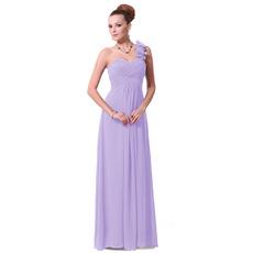 Elegant Sheath/ Column One Shoulder Floor Length Chiffon Bridesmaid Dresses for Spring