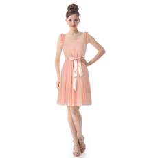 Discount Sheath Round Short/ Mini Chiffon Bridesmaid Dresses for Summer/Beach Wedding