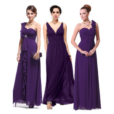 New Style Stylish Long Pleated Chiffon Bridesmaid Dresses/ Beautiful Discount Wedding Party Dresses