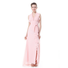 Gorgeous V-Neck Chiffon Split Sheath Long Evening Dresses for Spring
