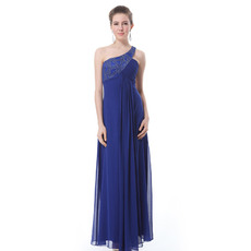 Affordable One Shoulder Blue Chiffon Floor Length Sheath Evening/ Prom Dresses