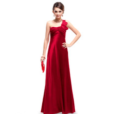 Discount One Shoulder Satin Sheath Floor Length Evening/ Prom Dresses