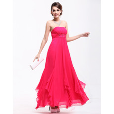 Romantic A-Line Strapless Chiffon Beading Ankle Length Evening/ Prom Dresses with Godet hem