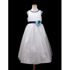 Affordable A-Line Round Tea Length Satin TulleColor Block Flower Girl Dresses with Satin-trimmed