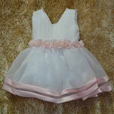 Custom Cute Ball Gown V-Neck Knee Length Satin Organza First Communion/ Flower Girl Dresses