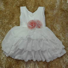 Cute Beaded V-Neck Knee Length Chiffon First Communion/ Flower Girl Dresses with Layered Draped High-Low Skirt