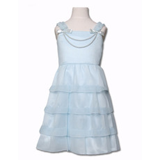 Pretty Simple A-Line Straps Tea Length Satin Organza Easter Dresses/ Flower Girl Dresses with Tiered Skirt