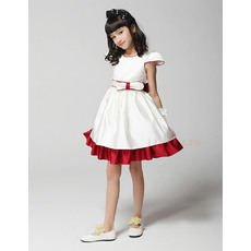 Pretty A-Line Round/Scoop Cap Sleeves Short Satin Empire Party Flower Girl Dresses