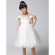 Discount Cute A-Line Off-The-Shoulder Knee Length Empire Party Flower Girl Dresses