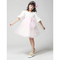 Discount Custom A-line Round Half Sleeves Knee Length Satin Tulle Short First Communion/ Flower Girl Dresses