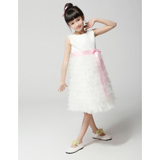 Cute Discount A-Line Bateau Knee Length Ruffle Tiered Skirt First Communion/ Flower Girl Dresses