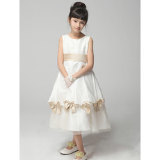 Cute A-Line Round/Scoop Tea Length Satin Emipre First Communion/ Flower Girl Dresses