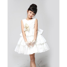 Beautiful A-Line Bateau Short/Mini Taffeta Tiered Empire First Communion Dresses Flower Girl Dresses
