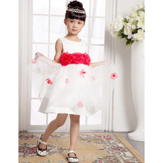 Pretty A-Line Round/Scoop Mini/Short Satin Organza Easter Dresses/ Flower Girl Dresses