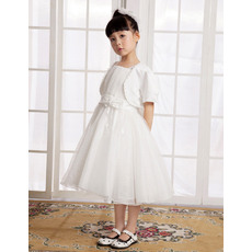Concise A-Line Straps Knee Length Organza Satin First Communion/ Flower Girl Dresses