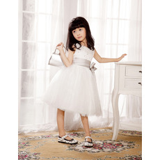 Newest A-Line Round/Scoop Knee Length Empire Flower Girl/ First Communion Dresses