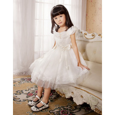 Cute A-line Off the Shoulder Cap Sleeves Knee Length Satin Organza First Communion/ Flower Girl Dresses