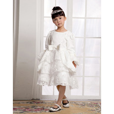 Special A-line Round/Scoop Knee Length Long Sleeves Satin Empire First Communion/ Flower Girl Dresses