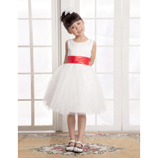 Nice A-Line Round Knee Length Satin Organza Empire Wedding/Evening Flower Girl Dresses