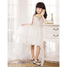 Discount A-line Spaghetti Straps Asymmetric Organza Satin Wedding/Party Flower Girl Dresses