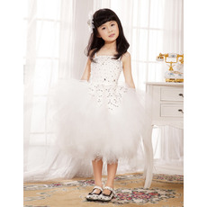 Luxury Beaded Ball Gown Spaghetti Straps Knee Length Tulle Satin Flower Girl Dresses/ Girls Party Dresses with Tutu Skirt
