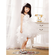 Classy Fashionable Ball Gown Spaghetti Straps Short/Mini Satin Tulle Flower Girl Dresses with Tutu Skirt