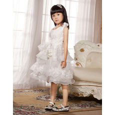 Lovely Gorgeous A-Line Round Neck Knee Length Organza Satin Flower Girl Dresses with Ruffled Tiered Skirt