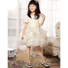 Lovely Gorgeous A-line Round Neck Short Sleeves Knee Length Organza Flower Girl Dresses with Ruffled Tiered Skirt