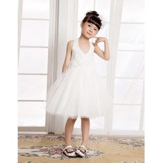 Luxury Beaded A-Line Halter Knee Length Organza Satin Tulle Flower Girl Dresses/ Girls Party Dresses