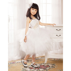 Gorgeous Ball Gown Spaghetti Straps Knee Length Tulle Party Flower Girl Dresses with Tutu Skirt