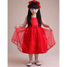 Simple Affordable A-Line Round Knee Length Satin Tulle Empire Flower Girl Dresses