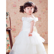 Pretty Ball Gown Tea Length Off the Shoulder Organza Satin Flower Girl Dresses with Tiered Skirt