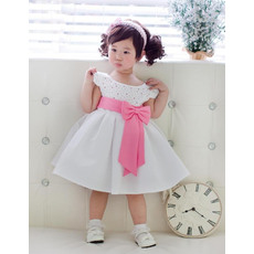 Lovely A-Line Scoop Cap Sleeves Knee Length Satin Organza Flower Girl Dresses with Beaded