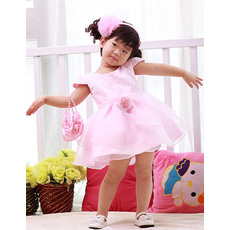 Pretty Ball Gown Round Cap Sleeves Empire Short/Mini Flower Girl Dresses/Toddler Girls Dresses