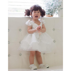 Cute Ball Gown V-neck Cap Sleeves Short/Mini Satin Organza Flower Girl Dresses with Hand Made Flower