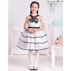 Discount Fashionable Ball Gown Rosette Detailed V-Neck Knee Length Color Block Party Flower Girl Dresses