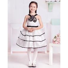 Discount Fashionable Ball Gown Rosette Detailed V-Neck Knee Length Color Block Party Flower Girl Dresses