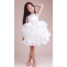 Amazing Pretty Ball Gown Beaded Round Nekc Mini/ Short Organza Ruffle Wedding/Evening Flower Girl Dresses with Ruffles Galore