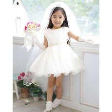 Discount Lovely A-Line Cap Sleeves Short Satin Organza White Flower Girl Dresses with Beaded Waist