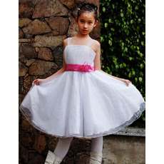 Discount Bling Bling A-Line Straps Knee Length Sequined Organza Party Flower Girl Dresses