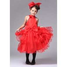 Fashionable Red A-Line High-Neck Knee Length Satin Organza Party Flower Girl Dresses with Ruffled Tiered Skirt