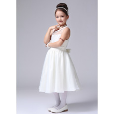 Pretty Classic A-Line Round Tea Length Satin Organza Beaded First Communion/ Flower Girl Dresses with Satin-trimmed