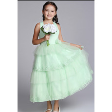 Affordable Pretty A-line Halter Neck Tea Length Satin Tulle Easter Dresses/ Flower Girl Dresses
