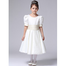 Discount A-line Round Neckline Tea Length Ivory Satin First Communion Flower Girl Dresses with Short Puff Sleeves