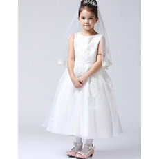 Lovely A-line Scoop Neckline Tea Length Organza First Communion Flower Girl Dresses with Beaded Appliques