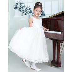 Discount Classic A-Line Round Tea Length Appliques Organza Satin Plus Size White First Communion/ Flower Girl Dresses