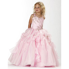 Luxury Beaded Rhinestone Ball Gown Straps Full Length Satin Organza Girls Party Dresses with Layered Draped High-Low Skirt
