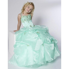 Newest Ball Gown Straps Floor Length Pick-Up Organza and Satin Flower Girl Dresses